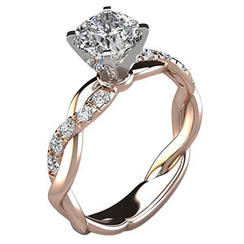 1 Pieza Anillo de Diamantes de circonita Nupcial Alianza de Compromiso chapada...