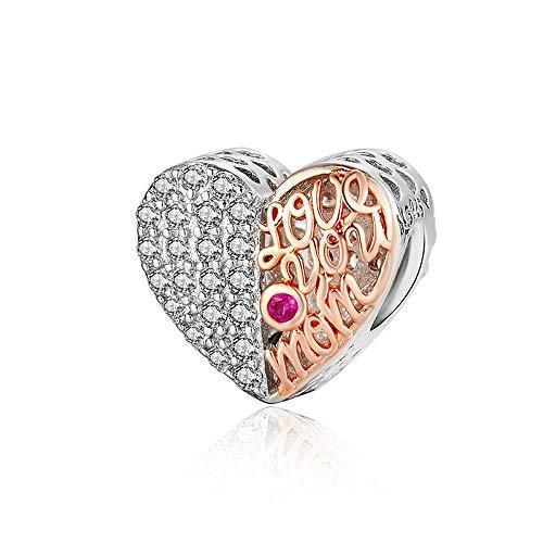 BioColour hartvormige kralen voor originele zilveren bedelarmband 925 sterling zilver moeder hart opengewerkte metalen kraal