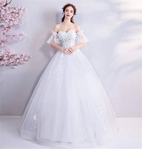 LYJFSZ-7 Vestido De Novia,Elegante Dama Delgada Fuera del Hombro Vestido De Novia, Vestido Superior De Tubo, Vestido Estilo Princesa De Corte Piso, Blanco