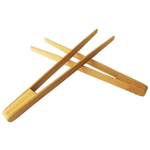 Gesh Pinzas de cocina de bambú de 9.6 pulgadas reutilizables herramienta para cocinar, tostar, rosquilla, pastel