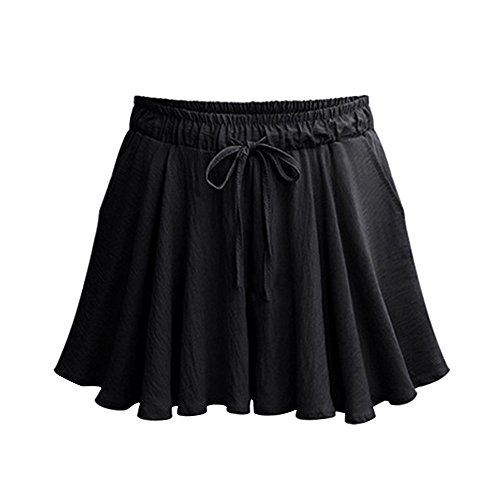 Gooket Women's Elastic Waist Casual A Line Culottes Wide Leg Shorts with Drawstring Black Tag XL-US 8