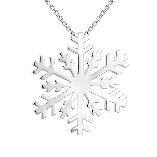 JO WISDOM Collar colgante Copo de Nieve Grande plata de ley 925 Mujer Joyería