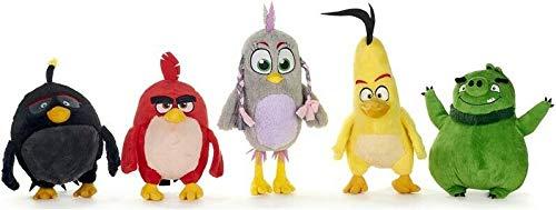 WHITEHOUSE LEISURE - Juego Completo 5 Plush Angry Birds Película 2 Red Chuck Bomb Leonard Silver Original ROVIO - Multicolor - 25/35cm