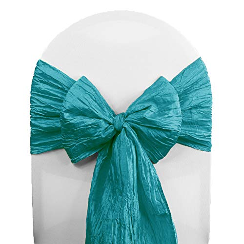 Your Chair Covers - Crinkle Taffeta Chair Sashes Teal (Pack of 10), Chair Sashes for Weddings, Events, Hotels and Catering Services