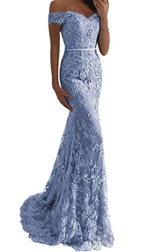 JAEDEN Ballkleider Lang Damen Hochzeitskleider Meerjungfrau Spitze Schulterfreie Abendkleider mit Schleppe Staubige blau EU34