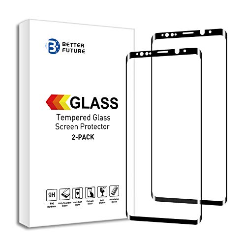 Glass Screen Protector for Samsung Galaxy Note 8,6.3 Inch,2 Pack,Curved Tempered Glass,Easy Install Tray,Black