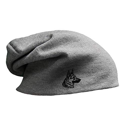 Black German Shepherd Head Embroidered Unisex Adult Acrylic Slouch Beanie Winter Hat - Light Grey, One Size