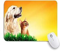 ゲーミングマウスパッド滑り止めラバーベース、レトリーバータビースペース純血種の犬が一緒に草の春にキティを愛し、コンピュータラップトップオフィスデスク用、9.5 X7.9インチ