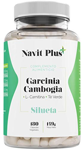 Garcinia Cambogia + L-Carnitina + Té Verde. Reductor del apetito, quemagrasas natural, termogénico potente. Tú complemento natural para ayudarte a quitarte esos kilos de más. 180 cápsulas vegetales.