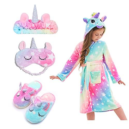 FZOSM Albornoz Suave Con Capucha de Unicornio para Niñas, Con Pantuflas de Unicornio, Venda para Los Ojos y Diadema (Rosa Claro, 8-9 años)