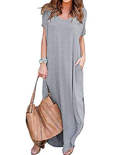 ZANZEA Damen V-Ausschnitt Kurzarm Strand Sommerkleid langes Abendkleid mit Tasche Grey M