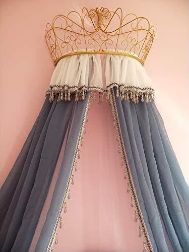HOMEJYMADE Ciel de lit Couronne Princesse Linge,Tente de Coin de Lecture Dôme moustiquaire Les Enfants Perles en Cristal Rideau Gris-Violet-A