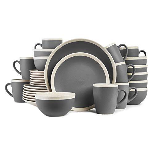 Stone Lain Dinnerware Set, 32 Piece, Dark Gray and Cream