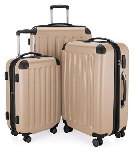 HAUPTSTADTKOFFER - Spree - 3er Koffer-Set Trolley-Set Rollkoffer Reisekoffer Erweiterbar, TSA, 4 Rollen, (S, M & L), Champagner