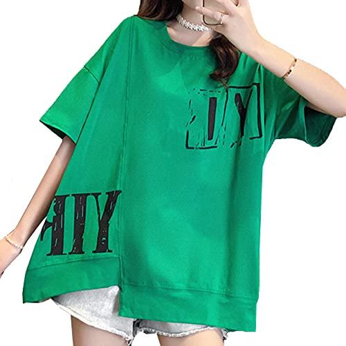 Camiseta de Manga Corta de Talla Grande ins Blusas de Media Manga Sueltas e Irregulares de Verano para Mujer