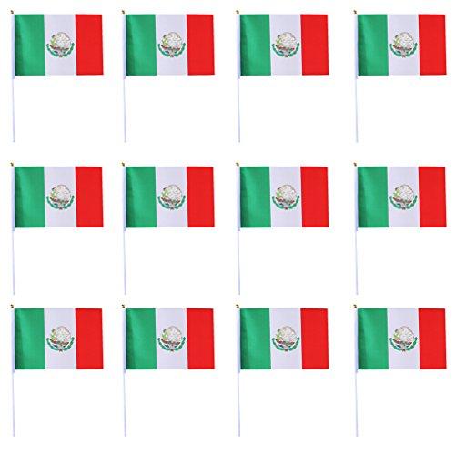 D DOLITY 12 Pedazos Banderas de Mano de Poliéster Festivales o Fiestas - Méjico