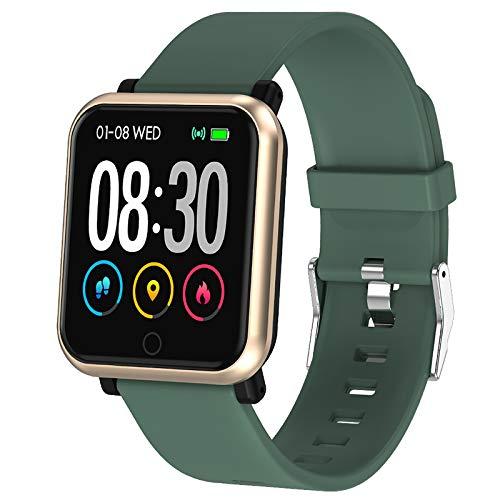 Polywell Fitness Armbanduhr mit Herzfrequenz, Fitness Tracker, Bluetooth Sportuhr Aktivitätstracker Schrittzähler, Schlaf Monitor, Kalorienzähler (Grün)