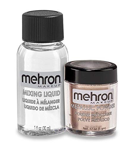 Mehron Makeup Metallic Powder (.17 oz) with Mixing Liquid (1 oz) (ROSE GOLD)