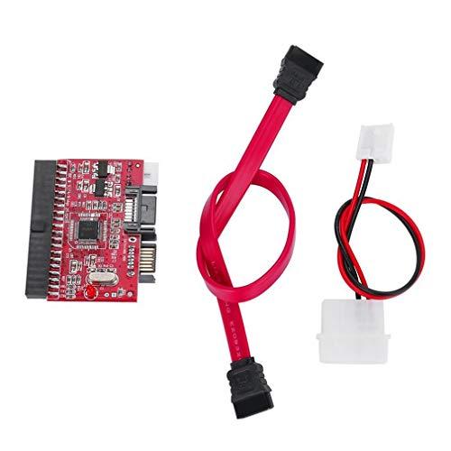 JIE Adaptador convertidor IDE HDD a SATA Serial ATA Soporte de Controlador de Disco Duro Rojo