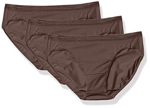 Hanes Women's Perfect Match Second Skin Microfiber Bikini 3-Pack, Modern Mocha, 5