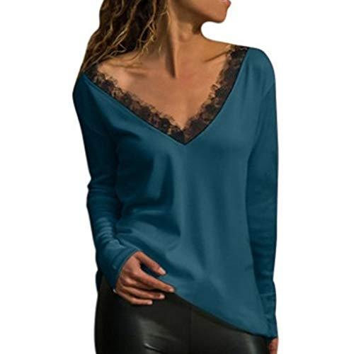 MENAB Damen Langarm V-Ausschnitt Knopf Lose Casual Tunika Tops Bluse T-Shirts Langarm V-Ausschnitt T-Shirt Plissee Front Top Casual Bluse ShirtWomens Langarm T-Shirt Ausschnitt Kalte Schulter