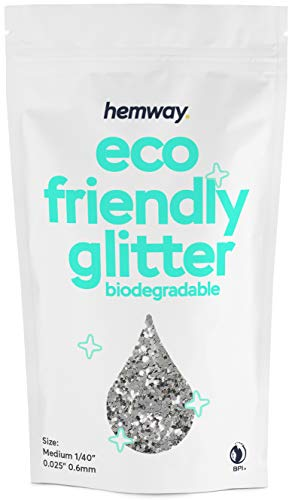 Hemway Eco Friendly Biodegradable Glitter 100g / 3.5oz Bio Cosmetic Safe Sparkle Vegan for Face, Eyeshadow, Body, Hair, Nail and Festival Makeup, Craft - 1/40' 0.025' 0.6mm - Silver