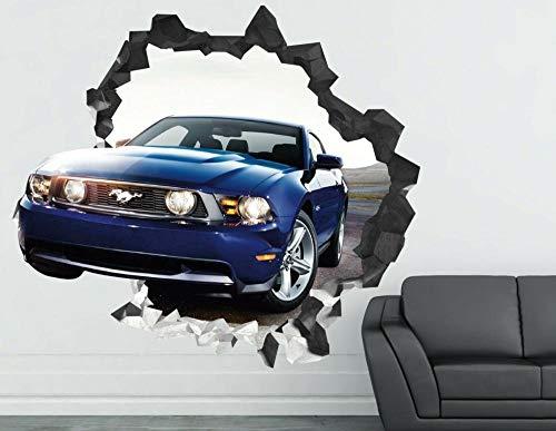 YQSL Wandaufkleber Wandtattoo Dekoration von Auto Sport Mustang zerschlagen 3D Sticker Art Vinyl