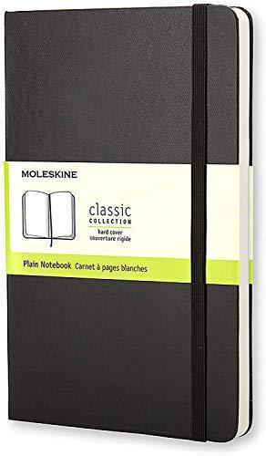 Moleskine - Klassisches Blanko Notizbuch - Hardcover mit Elastischem Verschlussband - Farbe Schwarz - Größe Groß 13 x 21 cm - 208 Seiten
