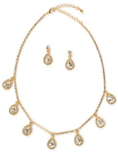 Topwholesalejewel Gold Crystal Rondelle Dangle Earrings & Circle Shape Bling Connection Necklace Jewelry Set