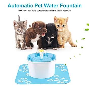 Hensych Automatique Chat Chien d'eau Fontaine électrique Pet Buveur Bowl Distributeur,1.6L octogonal Forme avec Super Silencieux Pompe, Filtre et Replaceable Pad Potable en Silicone