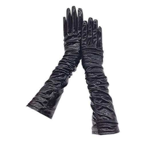 N / A Winterwarme Handschuhe Lederhandschuhe Leder Stil Lackleder helle Leder Damen Winter warm Fahrer Arm Ärmel Mode lang