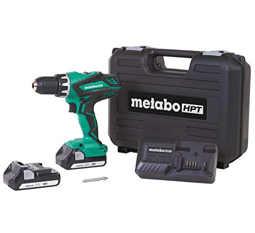Metabo HPT - Kit de taladro inalámbrico (18 V, incluye 2 baterías de iones de litio, funda de transporte, portabrocas sin llave de 1/2', luz LED, embrague de 22+1 etapa, disparador de velocidad variable (DS18DGL)