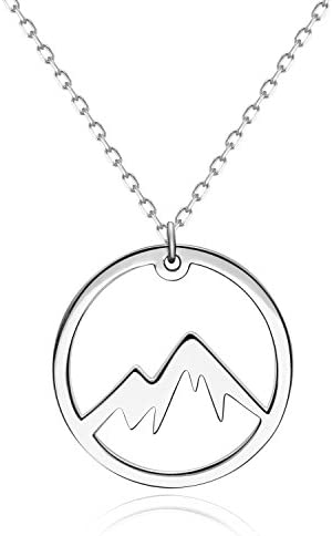 Mountain Necklace Sterling Silver Pendant Minimalist Jewelry for Outdoor Lovers product image