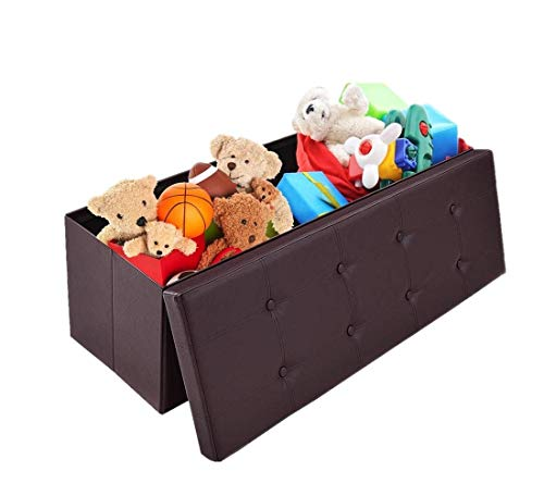 OOTORI Folding Storage Ottoman Bench, Faux Leather Storage Chest Footrest Seat Bench with Highly Elastic Sponge Filling, 43' L x 15' W x 15' H, Brown