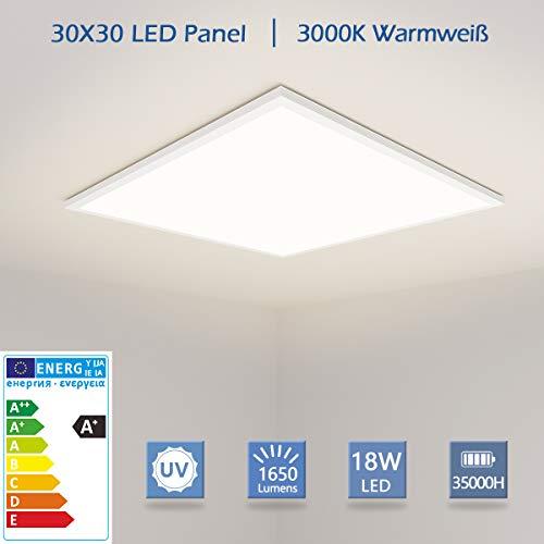 OUBO LED Panel 30x30cm Warmweiß 3000K 1650 Lumen Weißrahmen quadratisch 18W LED Wandleuchte Deckenleuchte für Supermarkt, Restaurants, Hotels, Messehallen, inkl. Netzteil