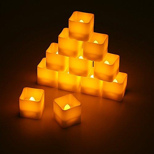 Preisvergleich Produktbild LED Kerzen,  Led Teelichter quadratisch 12pcs LED Flammenlose Kerzen mit Timerfunktion Automatischer,  Flackern Elektrische Kerze Lichter Dekoration für Valentinstag Ostern Hochzeit
