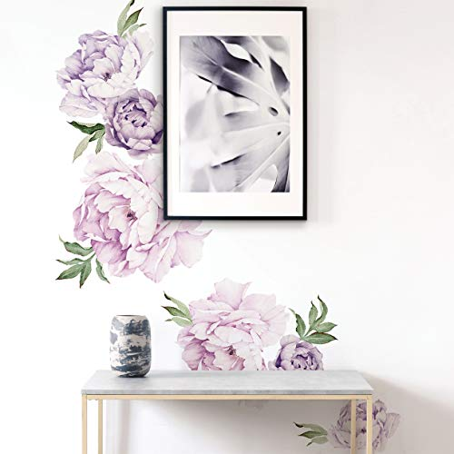 Simple Shapes Peony Flowers Wall Sticker - by (Mixed Lavender Purple)