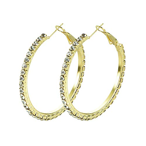 Yumay 9ct Gold Filled Creole Hoop Earrings for Women with 3MM Crystals