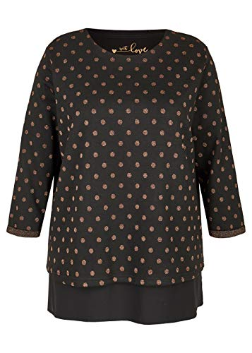Via Appia Due Damen Gepunktetes 3/4-Arm-Sweatshirt mit Blusensaum