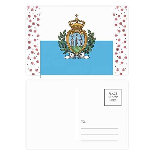 San Marino Nationale Vlag Europa Land Kerstmis Bloem Postkaart Thanks Card Mailing 20 stks