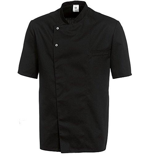 BP 1548-400-32-2XL - Chaqueta de cocinero de manga media con cuello alto y banda de botones de presión oculta, 215,00 g/m2, mezcla de tela, color negro, 2XL