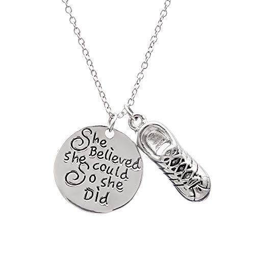 Infinity Collection Running Gifts- Runner Charm Necklace, Running Jewelry, She Believed She Could So She Did Running Pendent- Perfect Cross Country, Track, Marathon Gifts