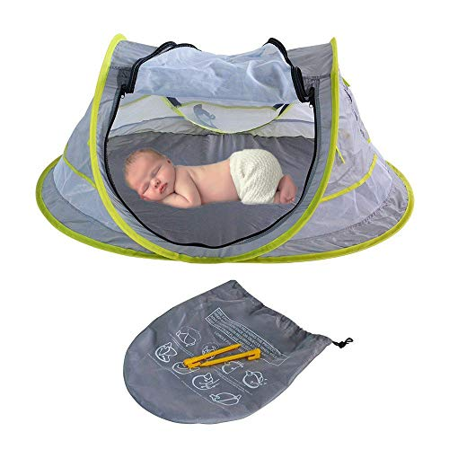 Suliper Portable Beach Pop up Tent Toy Babies, UPF 50+, Large Sun Shelter Infant Babies, Mosquito Net Sunshade, Lightweight Outdoor Travel Baby Crib Bed