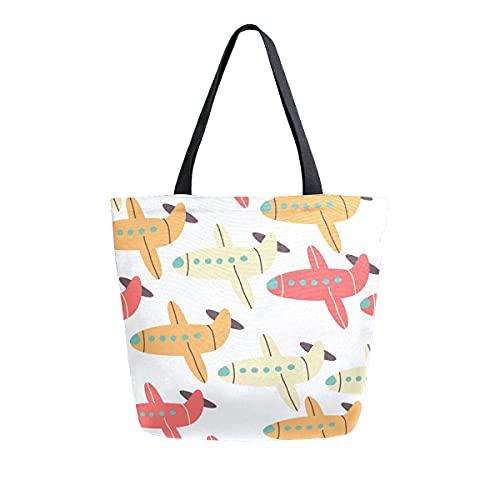COZYhome - Bolso de lona grande, diseño de avión de dibujos animados, reutilizables, bolsa de compras, bolsa de hombro para mujeres, trabajo, escuela, etc