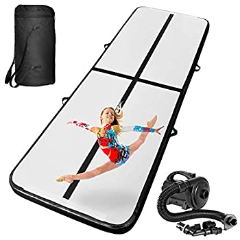 INTEY 10ft Inflatable Gymnastics Air Track Tumbling Mats with Electric Pump Tumble Track Air Mat for Gymnastics Training/Home Use/Water Yoga/Cheerleading