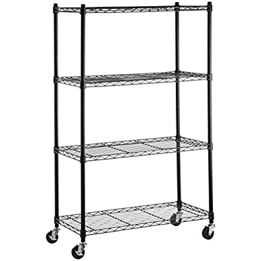 AmazonBasics 4-Shelf Shelving Unit on 3'' Casters, Black