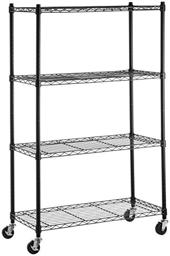 AmazonBasics 4-Shelf Shelving Storage Unit on 3 Wheel Casters Metal Organizer Wire Rack Black 36L x 14W x 5775H