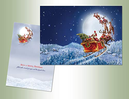 PERFORMING ARTS BOXED CHRISTMAS CARD SET Flying Santa Set of 16 Velvet Touch coated cards/16 envelopes (1 design per box)