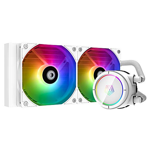 ID-COOLING ZOOMFLOW 240X Snow CPU Water Cooler 5V Addressable RGB AIO Cooler 240mm CPU Liquid Cooler 2X120mm RGB Fan, Intel 115X/2066, AMD TR4/AM4