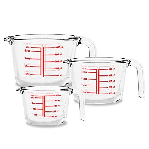 Luvan 3er-Pack Glas-Messbecher, einfacher Handgriff, ml oz Messbecher, temperaturbeständige Backbecher für zu Hause